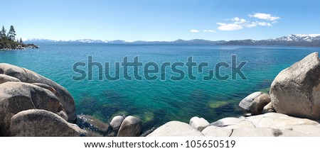 Panoramic view of Lake Tahoe in California - stock photo