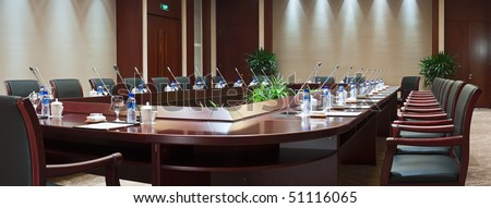 panoramic view of large conference room in hotel - stock photo