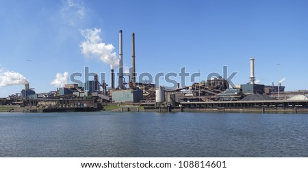 panoramic view of large steel factory in IJmuiden, Netherlands - stock photo