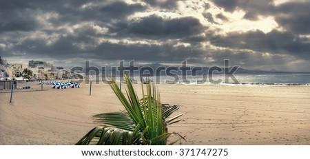 Panoramic view of Las Canteras beach in Las Palmas. Gran Canaria, Canary islands, Spain - stock photo