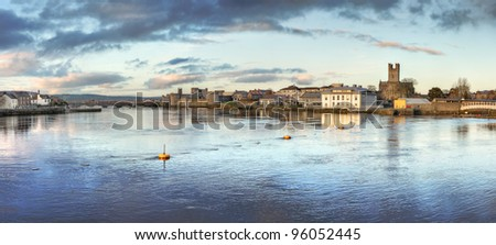 Panoramic view of Limerick City at dusk in Ireland. - stock photo