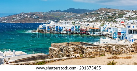 Panoramic view of Little Venice on Mykonos Island, Cyclades, Greece - stock photo