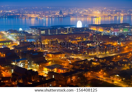 Panoramic view of Liverpool City at night, United Kingdom - stock photo