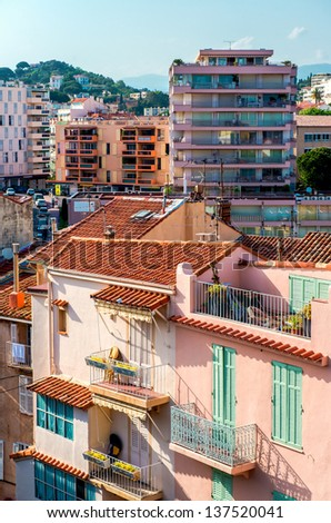 Panoramic view of living houses of Cannes city, France