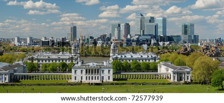 Panoramic view of London City with Canary Wharf  and National Maritime Museum from Greenwich - stock photo