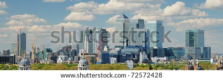 Panoramic view of London City with Canary Wharf from Greenwich - stock photo