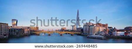 Panoramic view of London, Shard, Tower Bridge and Globe theatre - stock photo