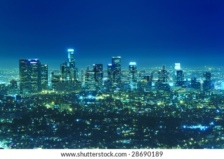 Panoramic view of Los Angeles city skyline at night - stock photo