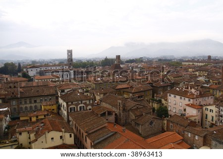 Panoramic view of Lucca, Italy