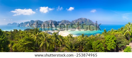 Panoramic view of lush green picture perfect tropical island, Phi-Phi Don, Thailand. - stock photo