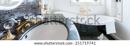 Panoramic view of luxurious and expensive bathroom - stock photo