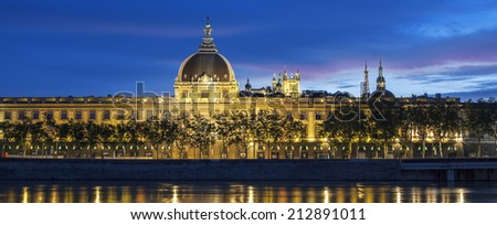 Panoramic view of Lyon at sunset with Rhone river, France.  - stock photo