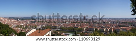 Panoramic View of Lyon from Fourviere Hill - stock photo