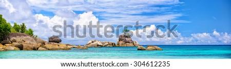 Panoramic view of Mahe coastline with typical granite rocks, Seychelles - stock photo