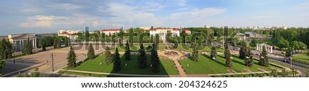 Panoramic view of main square in Belarusian city Molodechno - stock photo