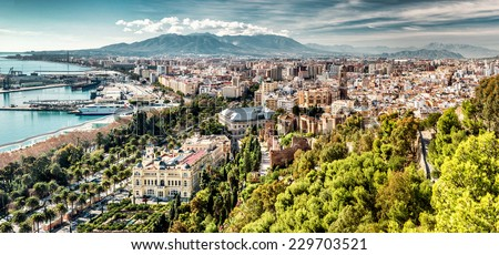 Panoramic view of Malaga city. Andalusia, Spain  - stock photo