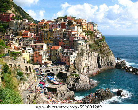 Panoramic view of Manarola, fishing village in Five lands, Cinque Terre National Park in the evening, Liguria, Italy.
