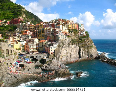 Panoramic view of  Manarola, fishing village in Five lands, Cinque Terre National Park, Liguria, Italy.