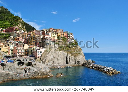 """Panoramic view of Manarola, one of the famous """"Cinque Terre"""" - stock photo"""
