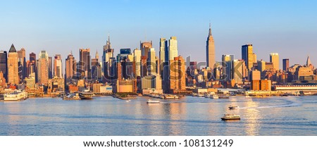 Panoramic view of Manhattan, New York - stock photo