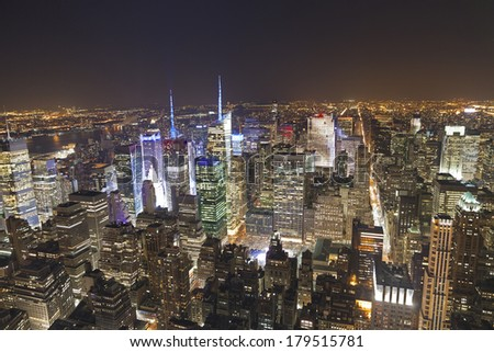 Panoramic view of Manhattan New York looking north from midtown  - stock photo