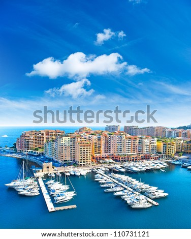 panoramic view of marina and Fontvieille, new district of Monaco - stock photo