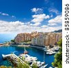 panoramic view of marina. Fontvieille, new district of Monaco - stock photo
