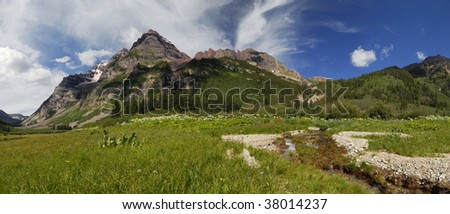 Panoramic view of Maroon Peaks in central Colorado - stock photo