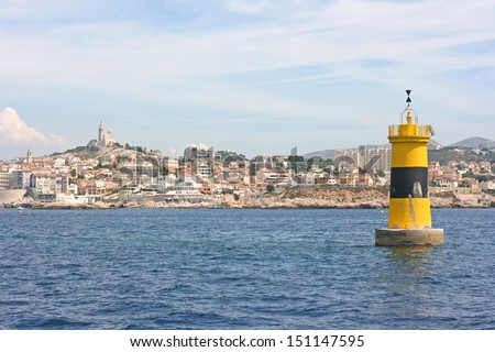 Panoramic view of Marseille over a sailing marker, France. - stock photo
