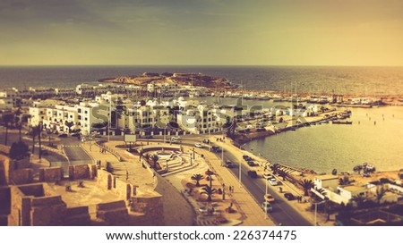 Panoramic view of Mediterranean coast in Monastir.Tunisia. Filtered image:cross processed vintage effect.   - stock photo