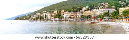 Panoramic view of Mediterranean town Opatija coastline - stock photo