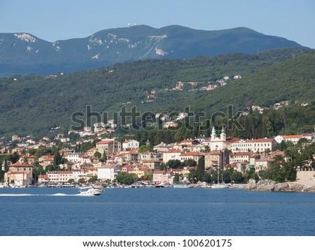 Panoramic view of Mediterranean town, Opatija, Croatia - stock photo