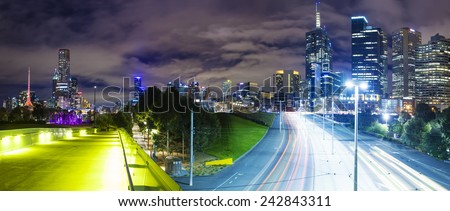 Panoramic view of Melbourne CBD at night - stock photo