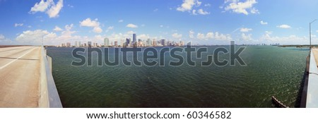 Panoramic view of Miami and Biscayne Bay from the Rickenbacker Causeway bridge. - stock photo