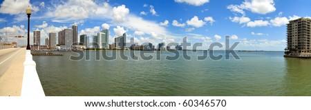 Panoramic view of Miami and Biscayne Bay from the Venetian Causeway Drawbridge. - stock photo