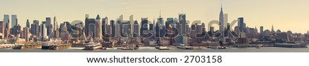 Panoramic View of Midtown Manhattan - stock photo
