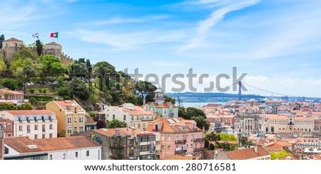 Panoramic view of Miradouro da Graca viewpoint  in Lisbon, Portugal - stock photo