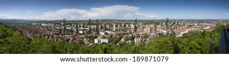 Panoramic view of Miskolc, Hungary - stock photo