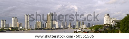 Panoramic view of modern Bangkok near Taksin bridge (