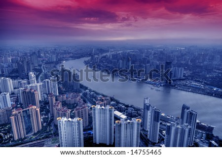Panoramic view of Modern Shanghai, China - stock photo