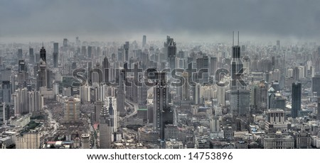 Panoramic view of Modern Shanghai, China (Bird-eyed view)