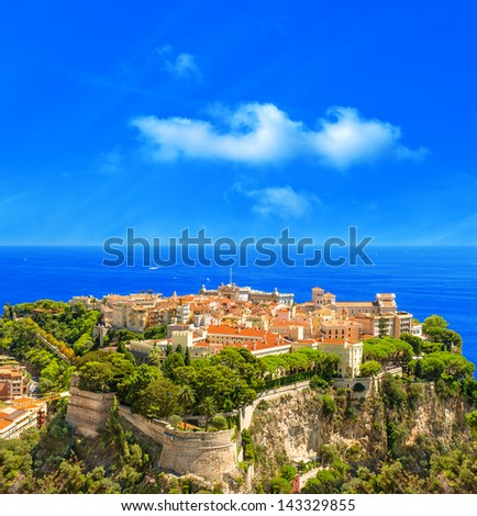 Panoramic view of Monaco. Mediterranean Sea landscape. French riviera - stock photo