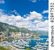 panoramic view of Monaco with the famous swimming pool and harbour - stock photo