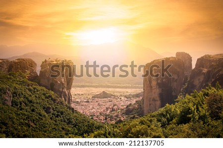 Panoramic view of monastery at Meteora in sunrise, Trikala region, Greece. - stock photo