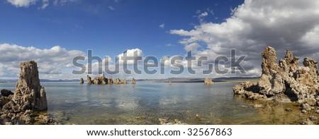 Panoramic view of Mono Lake tufa formations in eastern California - stock photo