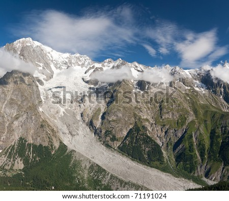 panoramic view of Mont Blanc massif on summer, Courmayeur, Italy - stock photo