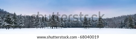 Panoramic view of Mont-Tremblant mountain south side - stock photo