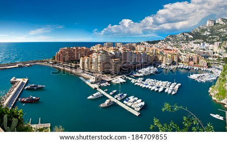 Panoramic view of Monte Carlo harbour in Monaco. Azur coast. - stock photo