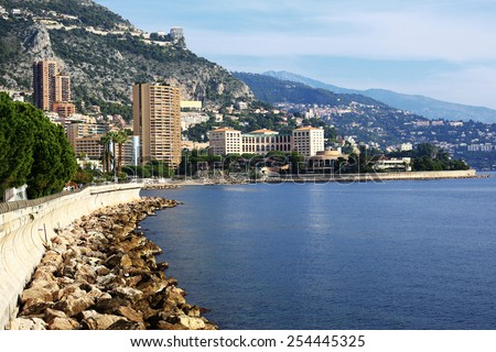 Panoramic view of Monte Carlo, Monaco. Principality of Monaco is a sovereign city state, located on the French Riviera - stock photo