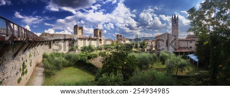 Panoramic view of Monteriggioni, Tuscany, Italy - stock photo